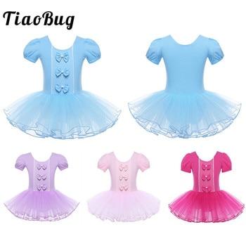 TiaoBug Children Mesh Short Sleeve Bowknot Ballet Tutu Dress Girls Gymnastics Leotard Dress Ballerina Performance Kids Dancewear