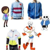 Undertale Sans Papyrus Frisk Coat Unisex Skeleton Brother Zipper Hoodies Anime Cosplay Sweatshirt