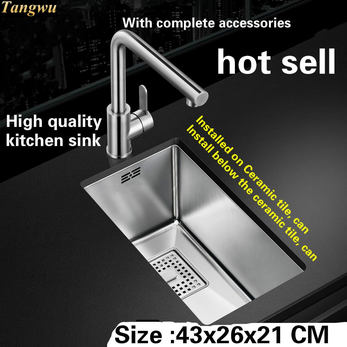 Tangwu Fashionable Apartment High-grade Kitchen Sink 304 Stainless Steel Thick Manual Small Single Slot 430x260x210 MM