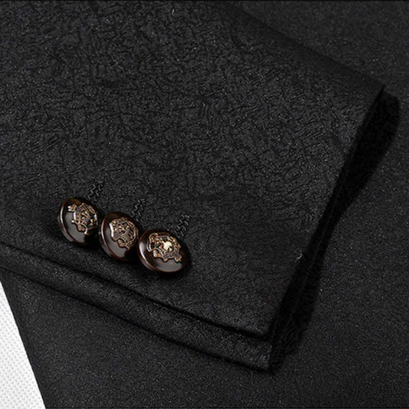 Plyesxale黒フロントパンツウェディングスーツ2018最新コートパンツのデザインスリムフィット男性ウエディングスーツ高品質メンズステージ摩耗q299