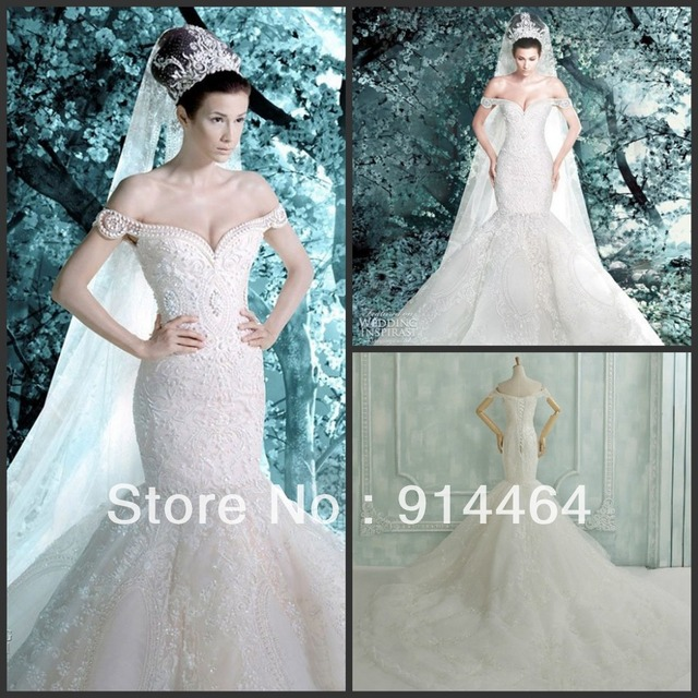 Michael Cinco Luxurious Off Shoulder Mermaid Hand Made Crystals ...