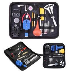 13/27 piezas reloj de Kit de herramientas de reparación de la caja de reloj abridor ver enlace primavera Bar removedor de destornilladores pinzas relojero reparar los dispositivos