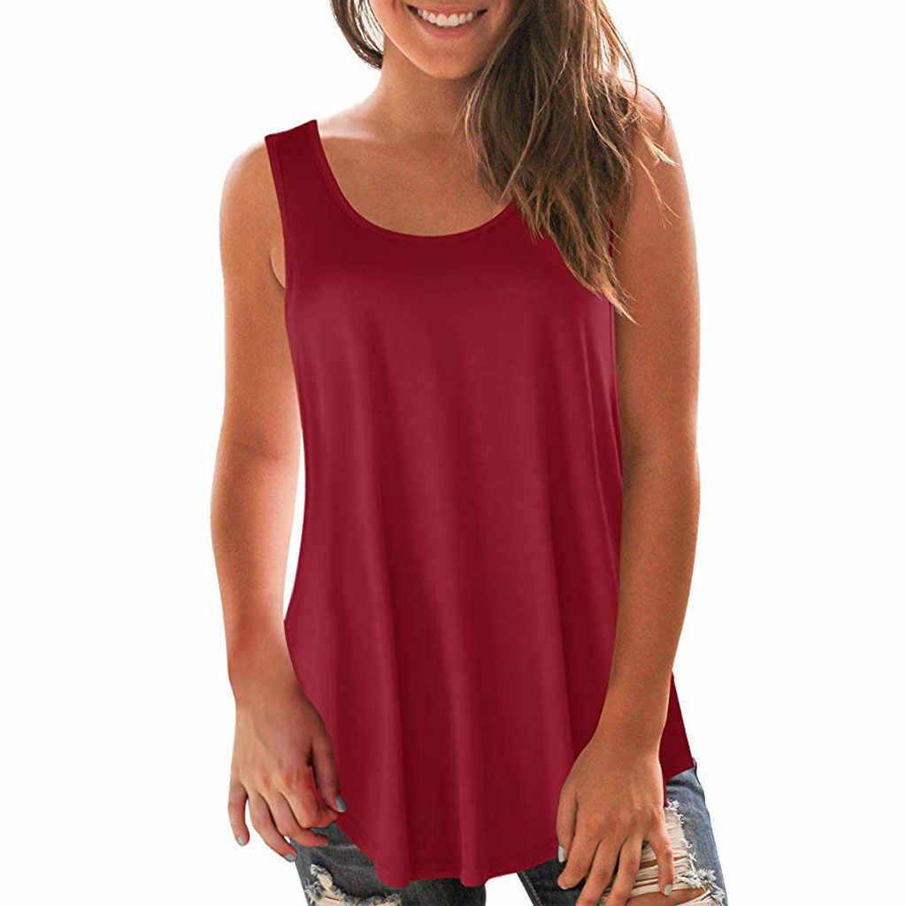 女性固体ソフトトップシャツ女性プラスサイズの夏のブラウス女性のラウンドネックノースリーブベストカジュアルチュニックトップ roupas mujer ファム