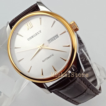 40mm white brown leather Sapphire Crystal Automatic Watch dial white mark mens  lady luminous hand watch