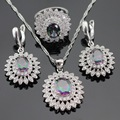 Huge Flower Multicolor Rainbow Created Topaz Silver Color Jewelry Sets Necklace Pendant Earrings Rings For Women Free Gift Box
