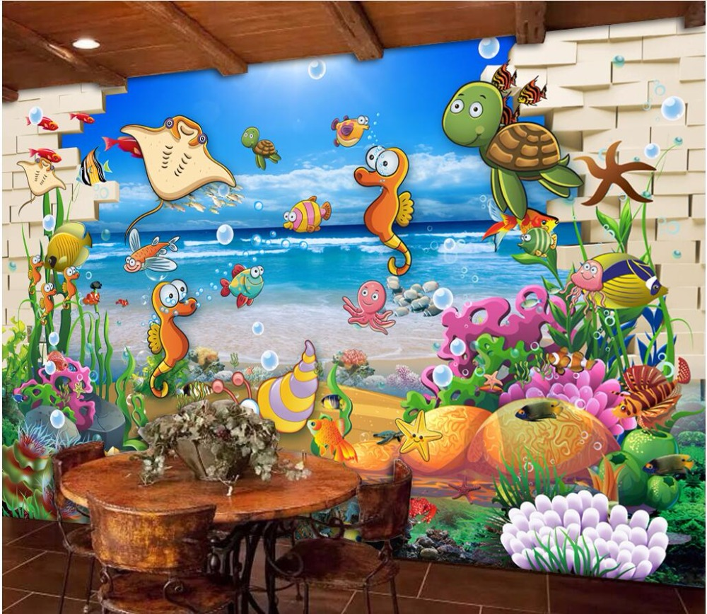 US $14 49 OFF Custom Mural Photo 3d Room Wallpaper Brick Wall Underwater World Cartoon Fish Picture 3d Wall Murals Wallpaper For Wall 3 D Mural