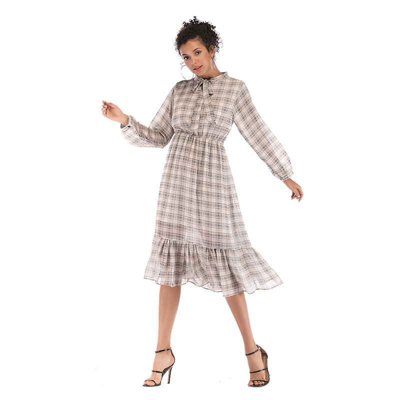 8dd784bc0fc4d New European And American Women's Bow-tie Retro Checked Dress Chiffon Women  Dress Long Sleeve Dress Women Clothes 2019 Ladies
