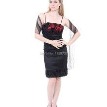 Strand Design Knielangen Spaghetti-trägern Cocktailkleid Mit Spitze Schwarz Satin Hochwertigen Junge Damen Kleid Freies Schal