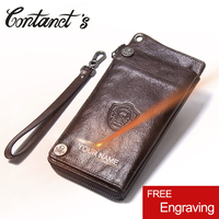 Casual 100% Genuine Leather Men Wallet Card Holder Male Purses With Phone Bag Long Design Clutch Wallets With Coin Pocket New