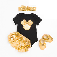 Baby Girl Clothes Golden Bowknot Infant Black Clothing Newborn Rompers Short Pants Headband Shoes Outfit Bebe Clothes 4PCS/set