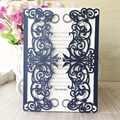 100 ensembles carte d'invitation QJ 229, carte de couleur bleu foncé et avec impression bleu foncé ou ivoire page intérieure et enveloppe blanche pour Roselyn Verk