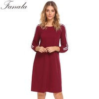 2018 Spring Stripe Patchwork Dress Women Round Neck Long Sleeve Contrast Color Casual Loose Dress S