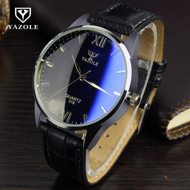 New YAZOLE Brand Genuine Leather Blue Ray Glass Black Brown Dress Quartz Watch Wristwatch for Men Male 100% original yazole luxury blue ray shockproof genuine leather round dial dress quartz wristwatch watch for men male no 332