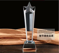 High quality!Customized Crystal Trophy Star Decorative Glass Award Sport Events Souvenirs Annual Meeting Awards Music Trophy
