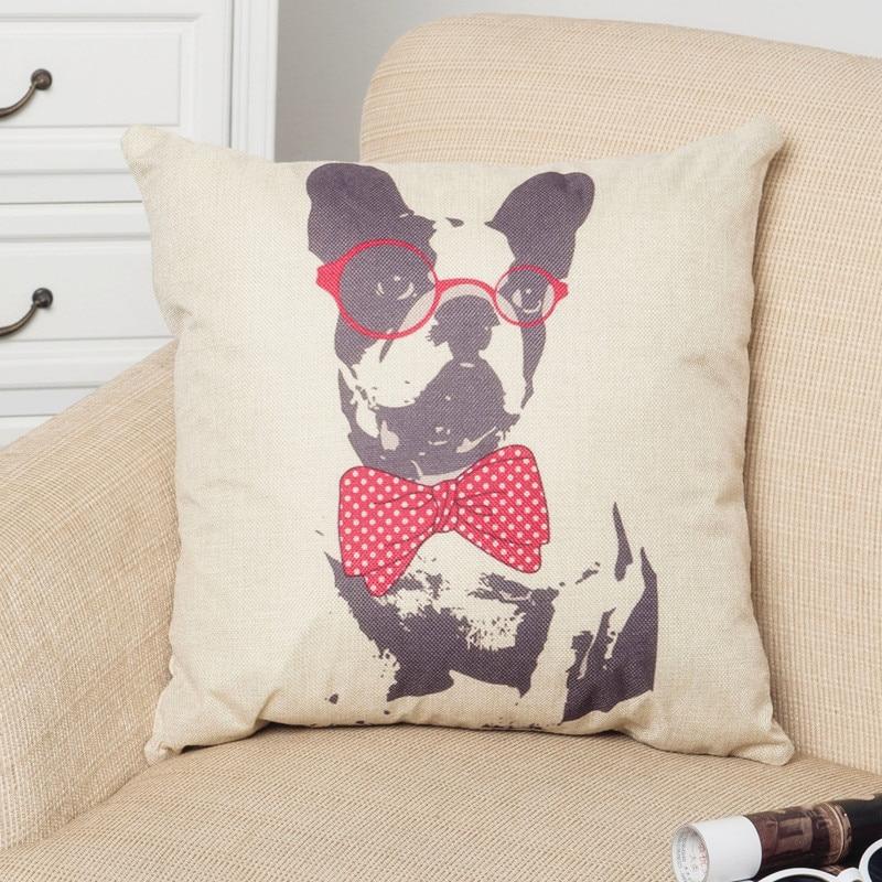 Cartoon Dog Tie Cushion Cover Throw Pillow Cotton Linen Pillowcase Bulldog Printing Christmas Decoration for Home Sofa Car CC015