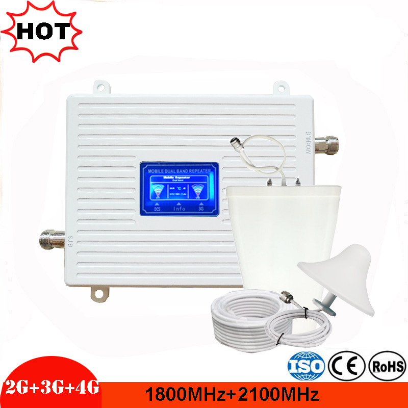 2g 3g 4g Lte Repeater Gsm Gain 76DB DCS/3G Cell Phone Repeater Dual Band 1800/2100 Mhz GSM Cellular Signal Booster Amplifier