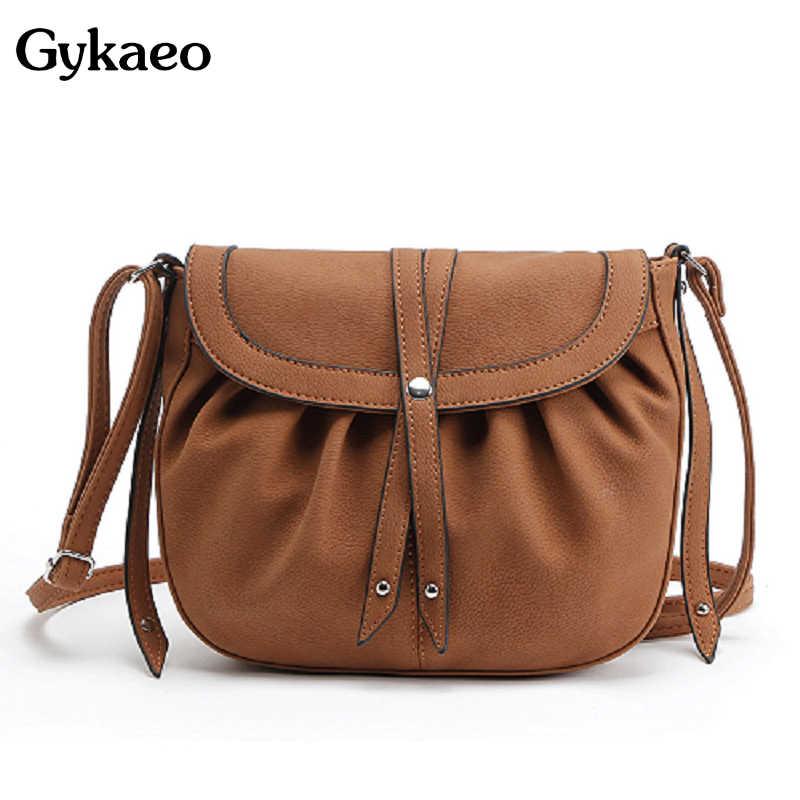 6c7a21995fbd Gykaeo 2019 Women Small Crosbody Messenger Bags PU Leather Saddle Bags  Ladies Shoulder Bags Female Vintage