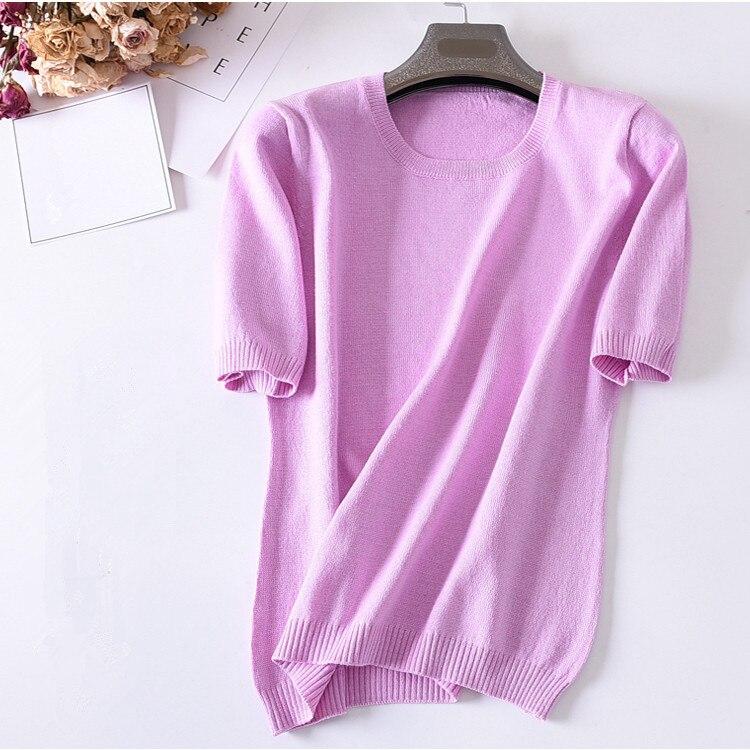 Liquidation vente cachemire laine mélange mince tricot femmes de mode t-shirt tops pull t-shirts chandail solide couleur S-3XL