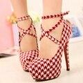 Women Houndstooth High Heels Platform Party Shoes Woman Ankle Strap Stiletto Pumps Plus Size HYL311