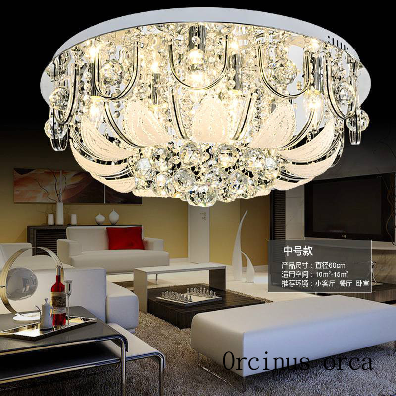 2017 Gold Round Crystal Ceiling Light For Living Room Indoor Lamp with Remote Controlled home decoration Free Shipping