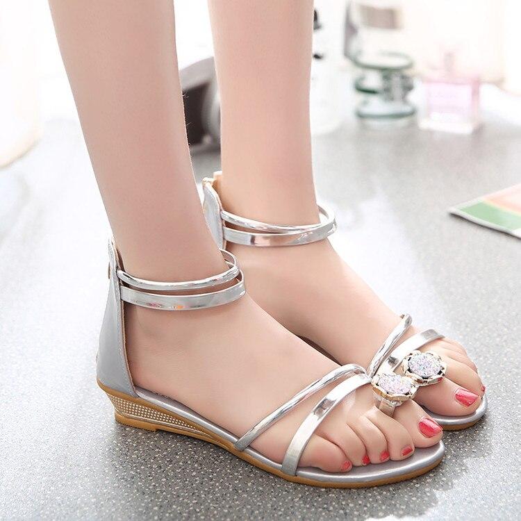 Doux Or Chaussures Sandales Coins Mode Couverture Tongs De Talon Orteil argent Plat Belle Femmes Strass dU1xndO