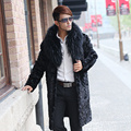 Подлинная норки пальто куница мех пальто мужской борьба норки фокс меховой воротник куртки мужские зимней одежды шуба Новый Феникс