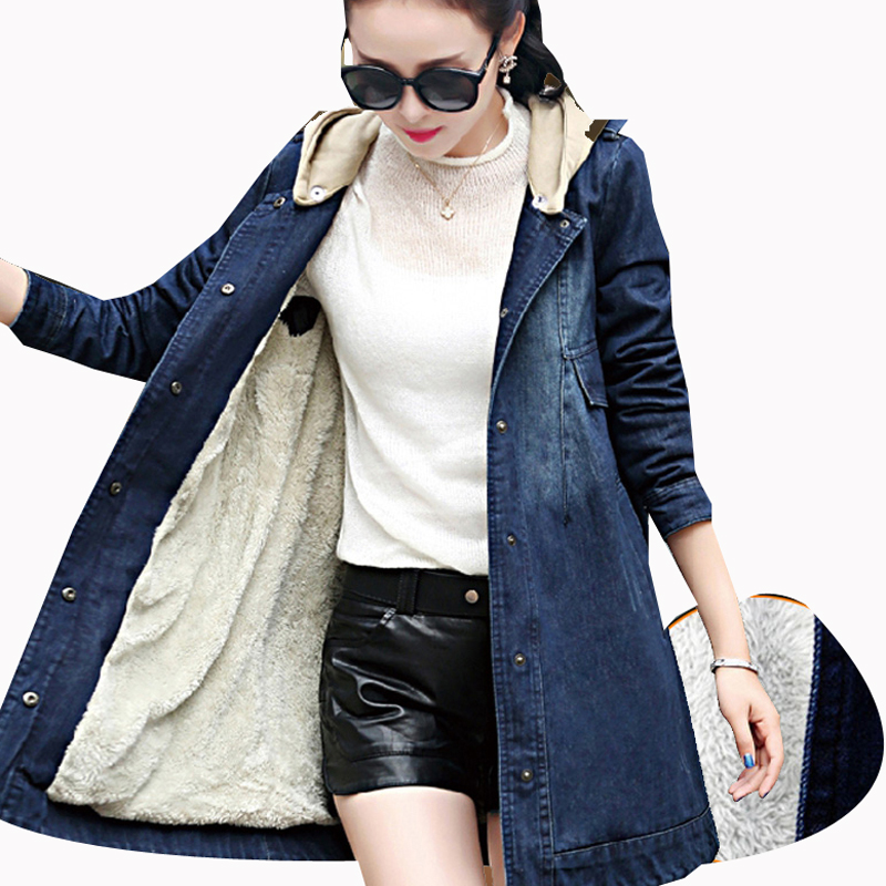 New Winter Fall Denim Women Jacket Long Thickening Warm Hooded Loose Coat Fashion Denim Blue Plus Size 5XL Jean Long Jacket bishe spring autumn winter new 2017 fur jean denim jacket winter blue women jacket coat with hooded long sleeves warm outwear