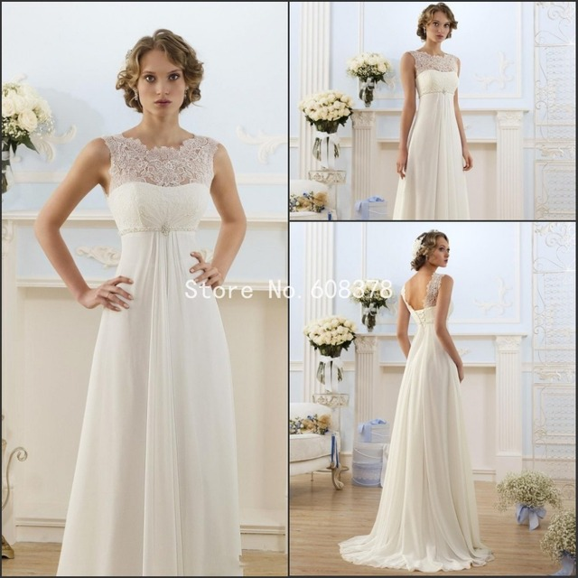 Elegant A Line Wedding Dress Sheer Neck Ced Sleeve Empire Waist Floor Length Chiffon Summer