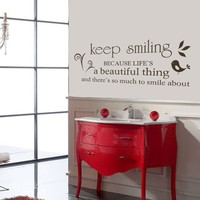 Keep Smiling Marilyn Monroe Wall Decal Quote Living Room Bedroom Decor Wall Sticker housewares gift for friends 15 x46