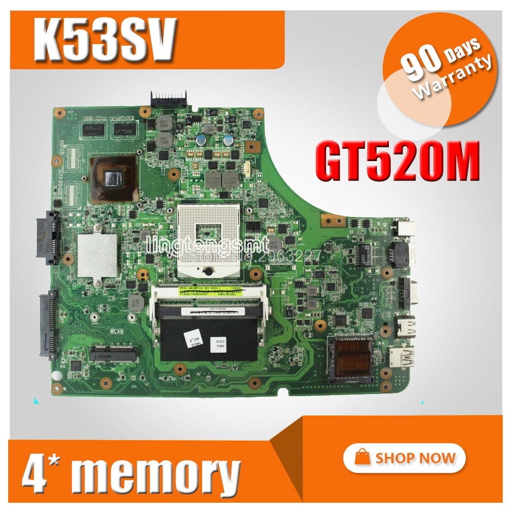 FOR ASUS K53SV Laptop motherboard P53SJ K53SV k53S X53SV A53S Mainboard N12P-GS-A1 REV 3.1/3.0 HM65 1G GT520M mainboard for asus k73sj motherboard rev 2 5 mainboard with nvidia geforce gt520m on board professional wholesale 100% working