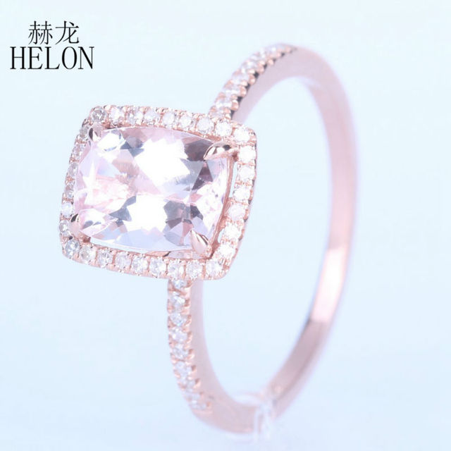 HELON UNBELIEVABLE 6x8mm Cushion 1.37CT Morganite & 0.2ct Diamonds Wedding Ring Soild 10K Rose Gold Engagement Fine Jewelry Ring