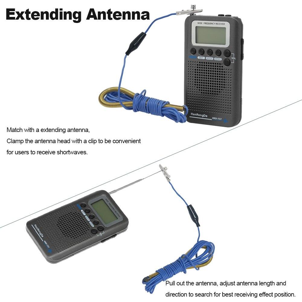HanRongDa HRD 737 récepteur de bande Radio Portable à bande complète FM/AM/SW/CB/Air/VHF avec réveil à écran LCD-in Radio from Electronique    3