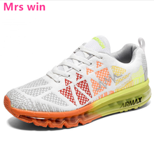 New Knitting Sneakers Sports Shoes Men Running Shoes Flying Full Palm Air Cushion Max Non-slip Jogging Camping Walking Shoes