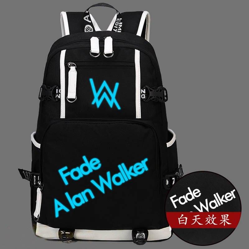 Hot Faded Alan Walker Backpack Canvas Bag Luminous Schoolbag Travel Bags hot martin garrix backpack canvas bag luminous schoolbag travel bags