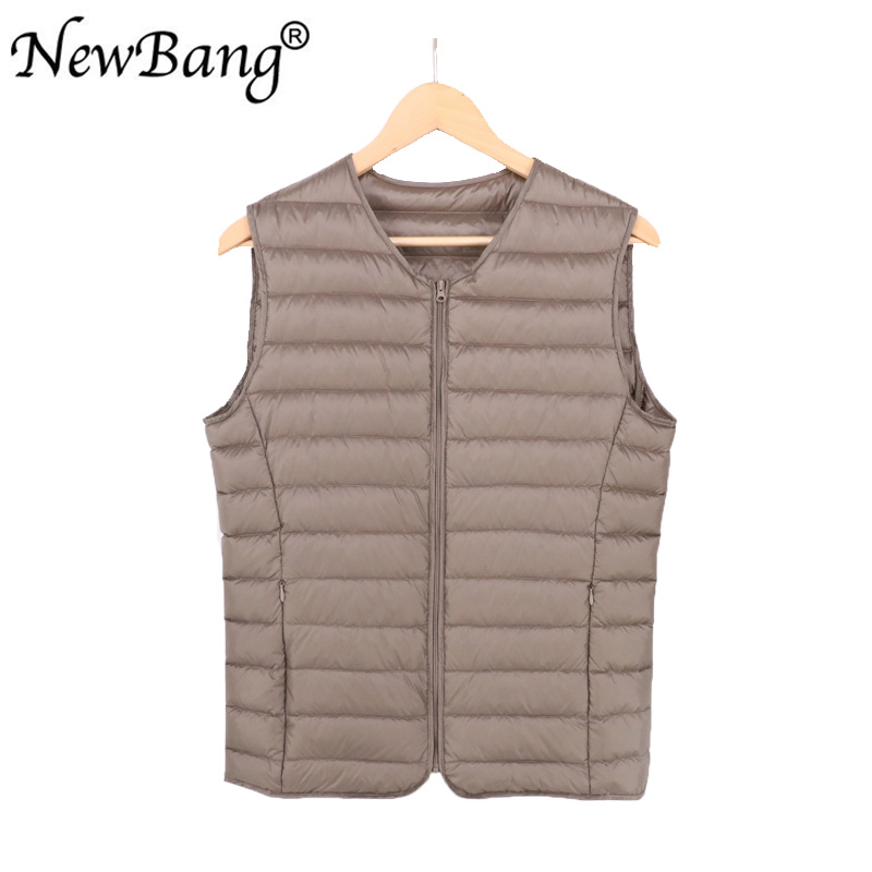 NewBang Men Down Vest Ultra Light Down Vest Portable V-neck Sleeveless Coat Man Winter Without Collar Warm Liner