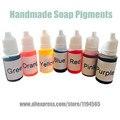 Pigmentos DEL TINTE Color 7 colores Líquido Jabón hecho a mano 10g * 7 DIY Rosa Púrpura Rojo Pigmentos Especiales