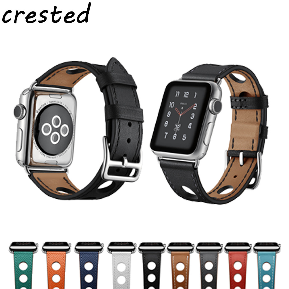купить CRESTED 2018 new Genuine leather strap band For Apple Watch Herme 3 42mm 38mm bracelet watchband leather belt for iwatch 3/2/1 по цене 808.94 рублей