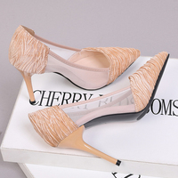XZ013 Elegant High Heels Women Pumps Sexy Mesh Lace Shallow Pumps Ladies Pointed Toe Thin High Heels Slip on 9cm Women Shoes