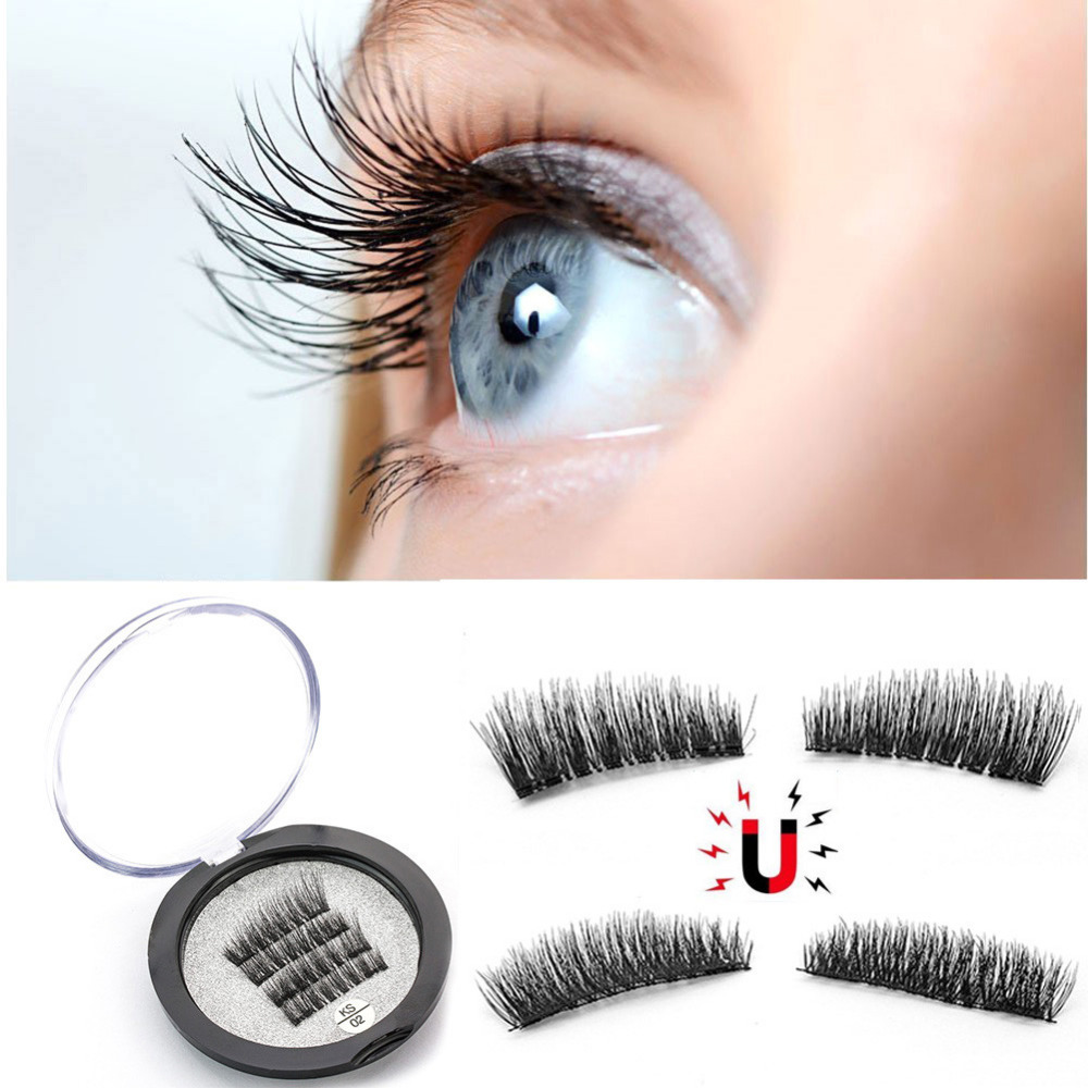 4Pcs/Set 3D Handmade Double Magnetic False Eyelashes Natural No-glue Fake Eye Lashes Reusable Magnet False Eyelash Extension