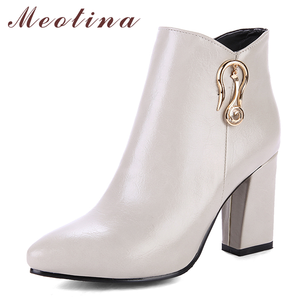 Meotina Women Ankle Boots High Heels Winter Shoes Metal Zip Thick Heels Autumn Shoes 2018 Ladies Short Boots Grey Big Size 33-43 warm winter fur leather women ankle boots high heels sexy comfortable shoes ladies short boots cutout shoes big size