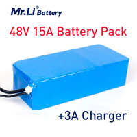 Mr.Li 48V 15Ah Lithium Ion Battery For Electric Bicycle 18650 Rechargeable Battery Pack With 3A Charger And PVC Case