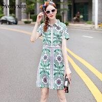 SVORYXIU 2018 New Summer Designer Dress Women S High Quality Short Sleeves Ethnic Fancy Floral Printed