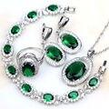 New Style oval 925 Sterling Silver Green Emerlad Jewelry Sets For Women Earrings/Pendant/Necklace/Rings/Bracelet Free Gift Box