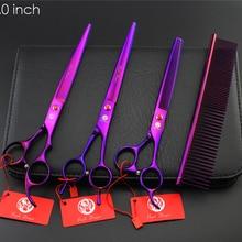"""Профессиональные ножницы для ухода за домашними животными набор фиолетовых """" 8 дюймов прямые и истончающие и изогнутые ножницы 3 шт./компл. для ножницы для стрижки собак"""
