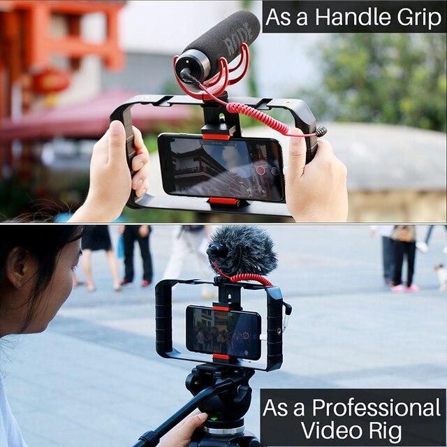 Ulanzi U Rig Pro soporte de vídeo para teléfono inteligente, 3 soportes de Zapata, estabilizador de vídeo de mano para cine, soporte de trípode, youtube, transmisión en vivo