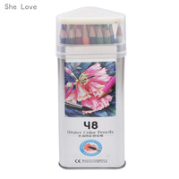 48 Colors Watercolor Colored Pencils Set Water Soluble Pencil Paint Pack For Write Drawing Art Supplies