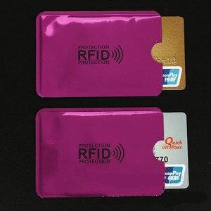 Футляр для банковских карт, розовый, красный, 10 шт., с защитой от сканирования, с защитой от магнитных карт, из алюминиевой фольги, портативны...