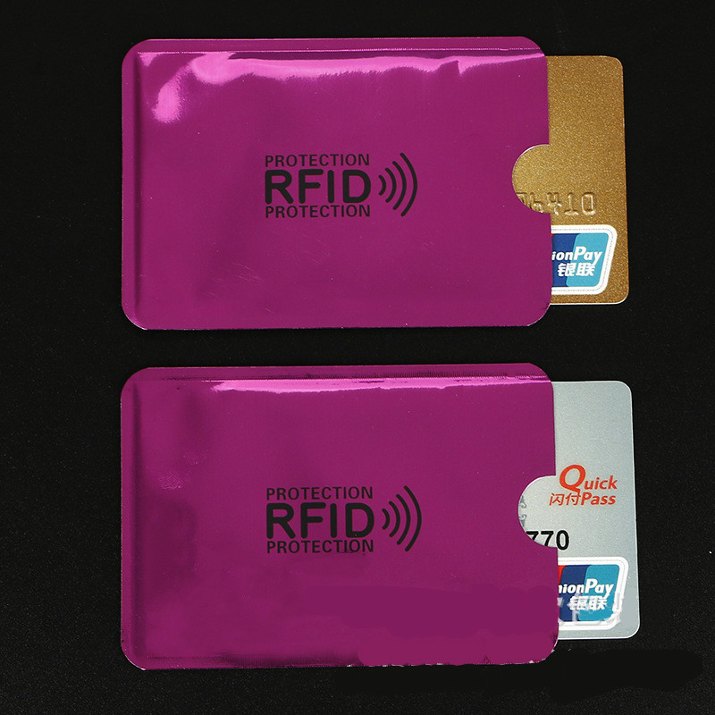 10 Pcs Rose Red Anti-Scan Card Sleeve Credit RFID Card Protector Anti-magnetic Aluminum Foil Portable Bank Card Holder
