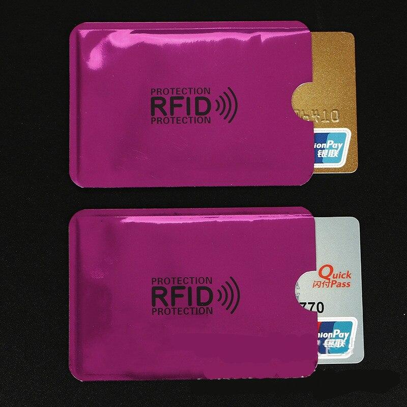 10 Piezas Rosa Rojo Anti-escaneo Manga De Tarjeta De Crédito Rfid Tarjeta Protector Anti-magnético Papel De Aluminio Banco Portátil Titular De La Tarjeta Perfecto En Mano De Obra