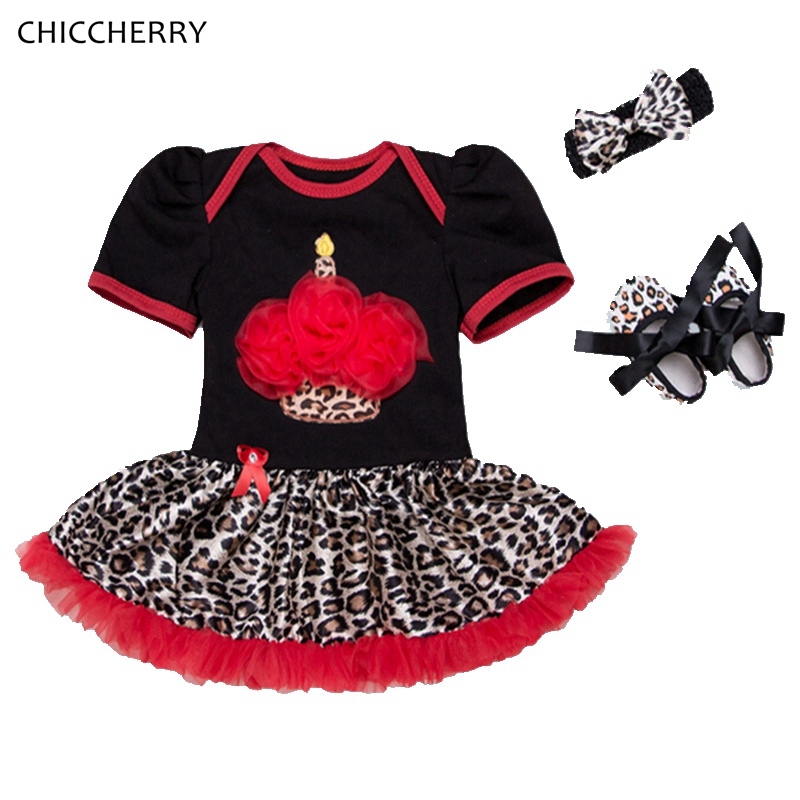 Leopard Print Cupcake Girls Birthday Tutu Sets Infantil Lace Romper Dress Headband Crib Shoes Baby Girl Clothes Infant Clothing